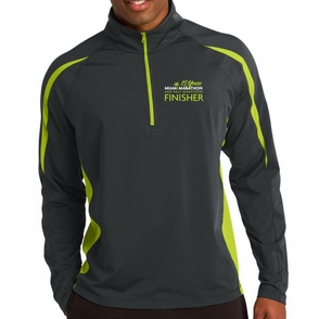 Miami Marathon: '2017 Finisher' Men's 1/2 Zip Colorblock Stretch Pullover - Grey / Green - by Sport-Tek® - Click to enlarge
