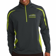 Miami Marathon: '2017 Finisher' Men's 1/2 Zip Colorblock Stretch Pullover - Grey / Green - by Sport-Tek�