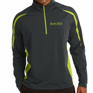 SoBe Triathlon: 'LCP 10th Annual' Men's 1/2 Zip Stretch Pullover - Charcoal Grey / Charge Green - by Sport-Tek