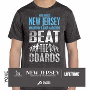 Novo Nordisk New Jersey Marathon & Half Marathon: 'Beat the Boards' Men's SS Tri-Blend Tee - Charcoal Black - by Bella�