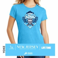 Novo Nordisk New Jersey Marathon & Half Marathon: 'Crest' Women's SS Tri-Blend Tee - Turquoise Frost - by District Made�