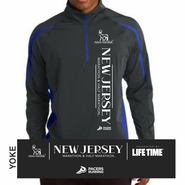 Novo Nordisk New Jersey Marathon & Half Marathon: 'Left Chest Print' Men's 1/4 Zip Tech Pullover - Charcoal Grey / True Royal - by Sport-Tek�