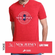 Novo Nordisk New Jersey Marathon & Half Marathon: 'Round' Men's SS Tri-Blend Tee - Heather Red