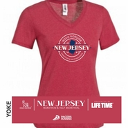 Novo Nordisk New Jersey Marathon & Half Marathon: 'Round' Women's SS V-Neck Tee - Heather Red