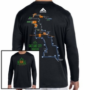 Salt Lake City Marathon: '2016 Map' Men's LS Tech Tee - Black