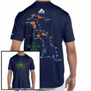 Salt Lake City Marathon: '2016 Map' Men's SS Tech Tee - Navy