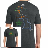 Salt Lake City Marathon: '2016 Map' Men's SS Tri-Blend Tee - Black Frost