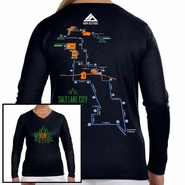 Salt Lake City Marathon: '2016 Map' Women's LS V-Neck Tech Tee - Black
