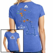 Salt Lake City Marathon: '2016 Map' Women's SS Tri-Blend Tee - Royal Frost