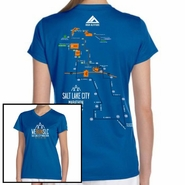 Salt Lake City Marathon: '2016 Map' Women's SS V-Neck Tech Tee - Royal