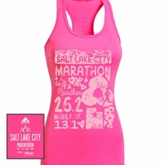 Salt Lake City Marathon: 'Elements' Women's Racerback Tech Singlet - Hot Pink