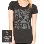 Salt Lake City Marathon: 'Elements' Women's SS 100% Cotton Tee - Charcoal Black