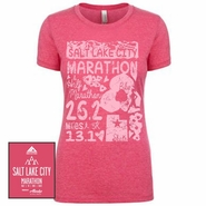 Salt Lake City Marathon: 'Elements' Women's SS Fashion Tee - Raspberry