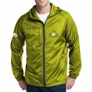 Salt Lake City Marathon: 'Left Chest Embroidery' Men's Full Zip Packable Wind Jacket - Pear Green