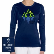 Salt Lake City Marathon: 'Reflect' Women's LS Tech Tee - Navy