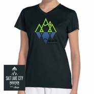 Salt Lake City Marathon: 'Reflect' Women's SS V-Neck Tech Tee - Black