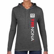 TRInona: 'Left Chest Print Design' Women's LS Lightweight Hoody - Heather Dark Grey - by Anvil®