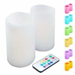 LED - Wax Candle with Multi Color Remote Control 2ct