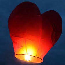 Red Heart Sky Lanterns (6 Count)