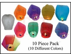 Sky Lanterns - 10 Piece Colored Mix
