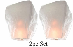 White Floating Sky Lanterns -  2pc Set