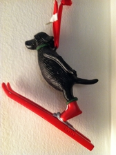 Lab Skier Ornament