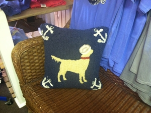 Sailor Yellow Lab Hooked Pillow