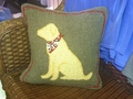 Yellow Lab Hooked Pillow