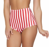 1 PC. High Waist  Pinup Swimwear Bottoms in Red & White Vertical Stripes