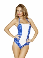 Blue & White Polka Dot Pinup Halter Romper One Piece Swimsuit with Ruffled Waist Detail