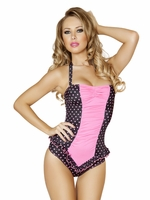 Pink & Black Polka Dot Pinup Halter Romper One Piece Swimsuit