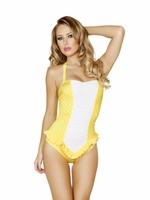 Adorable Yellow & White Polka Dot Pinup Halter Romper One Piece Swimsuit with Ruffled Waist Detail