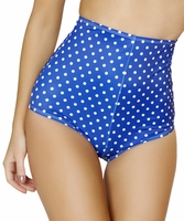 High Waist Pinup Swimsuit Bottoms in Royal Blue & White Polka Dots