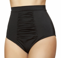 High Waist Shirred Front Bikini Bottoms with Banded Waist in Black