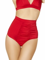 Retro Bathing Suits - High Waist Ruched Front Bikini Bottoms in Red