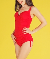 Retro Swimwear - Broad Minded Screen Siren Twist Bust One Piece Pinup Swimsuit with Adjustable Tie Sides in Red