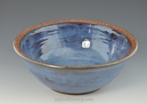 "Handmade Pottery 10.5"" Bowl in Smokey Bright Blue"