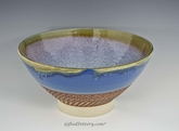 "11.5"" Handmade Porcelain Large Serving Bowl Rutile Blue"