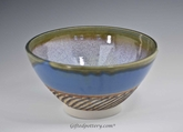 "9"" Handmade Porcelain Serving Bowl Rutile Blue"