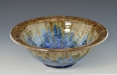 "Caramel Brown 10.5"" Crystalline Handmade Pottery  Bowl with Deep Blue Crystals"