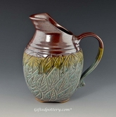 "Handmade Stoneware Carved Leaf 8.5"" Pitcher in Green and Plum Brown"