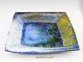 "Crystalline Glaze  10.5"" Square Tray in Ocean Blue Glaze"