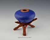 "Handmade Pottery Dark Blue ""Soul Pot"" with Stand"
