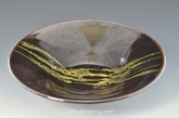"Handmade Pottery Ebony w Gold Serving Bowl 11"" Diameter"