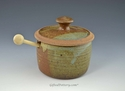 Handmade Pottery Honey Pot in Oasis Glaze