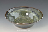 "Handmade Pottery Serving Bowl 10"" Diameter in Gray Green Glaze"