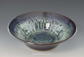 "Handmade Pottery Serving Bowl 10"" Diameter in Peacock Blue Glaze"