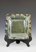 "Handmade Pottery Square Dish 8 - 8.5"" in Gray Green Glaze"