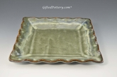 "Handmade Pottery Square Dish 9 - 9.5"" in Gray Green Glaze"