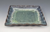 "Handmade Pottery Square Dish 9 - 9.5"" in Peacock Blue Glaze"